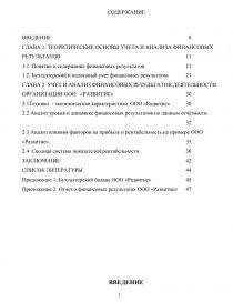 Учет и анализ финансовых результатов на предприятие ООО Развитие  zoom