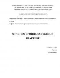 Отчет по производственной практике на кондитерской фабрике 1398